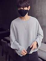 cheap -Men's Daily Going out Hoodie & Sweatshirt Solid Round Neck Micro-elastic Polyester Long Sleeves Winter Fall