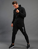 Men's Tracksuit Long Sleeves Thermal / Warm Breathable Hoodie for Running/Jogging Walking Cotton Polyster Black S M L XL XXL