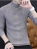 Men's Daily Going out Short Pullover,Solid Round Neck Long Sleeves Acrylic Winter Fall Thick strenchy