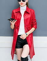 Women's Plus Size Casual/Daily Simple Street chic Fall Winter Trench Coat,Solid Shirt Collar Long Sleeve Long PU Cotton