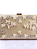 Women Bags Polyester Evening Bag Crystal Detailing Flower(s) Pearl Detailing for Wedding Event/Party All Season Gold White Black Red
