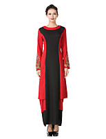 Women's Party Daily Vintage Street chic Sheath Swing Dress,Color Block Embroidered Round Neck Maxi Long Sleeve Cotton Linen Polyester