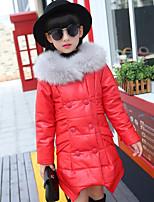 Girls' Solid Down & Cotton Padded Black Red Blushing Pink