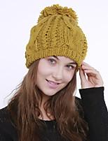 Для женщин Винтаж Очаровательный На каждый день Широкополая шляпа,Зима Акрил Романский трикотаж Цветочный Плетение Бежевый Серый Желтый