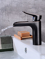 Art Deco/Retro Centerset Waterfall Ceramic Valve Single Handle One Hole Oil-rubbed Bronze , Bathroom Sink Faucet