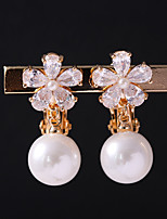 Women's Clip Earrings Cubic Zirconia Imitation Pearl Floral Alloy Jewelry For Wedding Daily