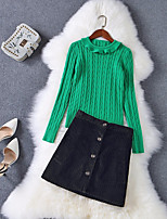 Women's Daily Going out Casual Fall Sweater Skirt Suits,Solid Round Neck Long Sleeves Ruffle Others