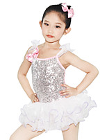 Kids' Dancewear Dresses Children's Performance Spandex Elastic Elastane Tulle Sequined Lycra Bow(s) Pleated Crystals/Rhinestones Paillette