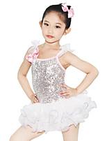 Tenues de Danse pour Enfants Robes Enfant Spectacle Spandex Élastique Elasthanne Tulle Pailleté Lycra Nœud papillon Plissé Paillette Sans