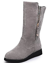 cheap -Women's Shoes Nubuck leather Fall Winter Comfort Combat Boots Boots For Casual Gray Black