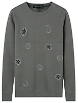 Для мужчин На каждый день Простой Обычный Пуловер Однотонный,Круглый вырез Длинный рукав Полиэстер Зима Осень Толстая Слабоэластичная