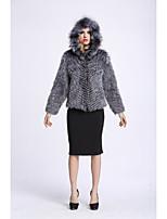 Women's Going out Simple Winter Fur Coat,Solid V Neck Long Sleeves Regular Fox Fur