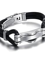 Homme Bracelet Mode Cuir durci Titane Forme Géométrique Bijoux Pour Quotidien