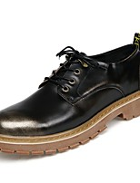 cheap -Men's Shoes Real Leather Leatherette Spring Fall Comfort Sneakers For Casual Black Gold