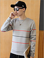 cheap -Men's Daily Casual Sweatshirt Print Round Neck Micro-elastic Polyester Long Sleeves Winter Fall