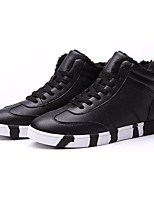 Men's Shoes PU Spring Fall Comfort Sneakers For Casual Black White