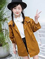 Girls' Solid Trench Coat Green Purple Yellow