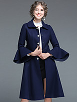 cheap -EWUS Women's Daily Going out Street chic Winter Fall Coat,Solid Shirt Collar Long Sleeves Maxi Polyester 100% Polyester Elastane Fur