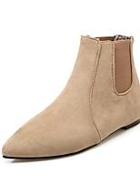 abordables -Mujer Zapatos Semicuero Otoño Invierno Botas de Moda Botas Dedo Puntiagudo Botines/Hasta el Tobillo Hebilla Para Casual Vestido Negro