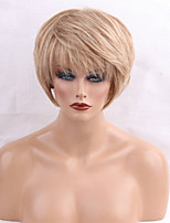 Women Human Hair Capless Wigs Medium Auburn/Bleach Blonde Medium Auburn Black Short Straight Side Part
