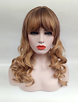 cheap -Women Synthetic Wig Middle Long Ombre Blonde Wavy Hair With Bangs For Women