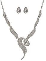 economico -Per donna Orecchini a goccia Collana Strass Adorabile Matrimonio Feste Diamanti d'imitazione Lega Di forma geometrica 1 collana Orecchini