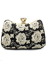 Women Bags All Seasons Polyester Evening Bag Flower(s) for Wedding Event/Party Gold Black