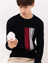 Men's Casual/Daily Short Pullover,Print Round Neck Long Sleeves Acrylic Fall Medium Stretchy