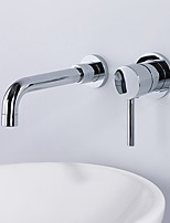 Contemporary Modern Style Widespread Wall Mount High Quality Ceramic Valve Single Handle Two Holes Chrome , Bathroom Sink Faucet