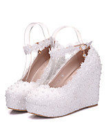 Women's Shoes Real Leather All Season Comfort Novelty Wedding Shoes Round Toe For Wedding Party & Evening Pink White