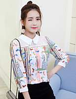cheap -Women's Daily Street chic Blouse,Print Shirt Collar Long Sleeves Polyester