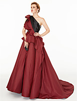 A-Line Princess One Shoulder Court Train Satin Taffeta Formal Evening Dress with Side Draping Pleats Color Block by TS Couture®