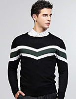 Men's Daily Regular Pullover,Print Round Neck Long Sleeves Cotton Medium Micro-elastic