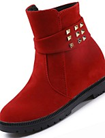 cheap -Women's Shoes Nubuck leather PU Winter Comfort Fashion Boots Boots Low Heel Round Toe For Casual Red Black
