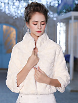 3/4 Length Sleeves Faux Fur Wedding Party/ Evening Women's Wrap With Feather/ Fur Patterned Shrugs