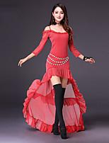 abordables -deberemos trajes de danza del vientre mujer rendimiento poliéster acanalada conjunta dividida manga 3/4 longitud faldas altas tops