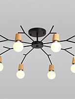 8 Heads Northern Europe Wood Art Deco Metal bough Ceiling Light Living Room Dining Room Flush Mount