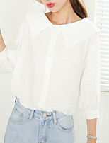Women's Daily Cute Shirt,Solid V Neck ¾ Sleeve Cotton
