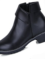 preiswerte -Damen Schuhe PU Winter Komfort Modische Stiefel Springerstiefel Stiefel Runde Zehe Booties / Stiefeletten Für Normal Schwarz