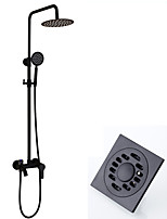Modern/Comtemporary Shower System Rain Shower Handshower Included with  Ceramic Valve Two Holes for  Black , Shower Faucet