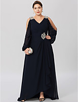 Sheath / Column V-neck Asymmetrical Chiffon Stretch Satin Mother of the Bride Dress with Crystal Detailing Criss Cross by LAN TING BRIDE®