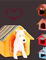 Gatto Cane Letti Animali domestici Materassini &Lettini Tinta unita Strisce Caldo Portatile Ripiegabile Morbido Giallo Caffè Per animali