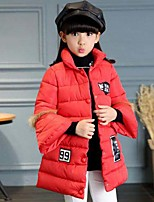 Girls' Print Down & Cotton Padded,Polyester Winter Cute Casual Active Black Red Blushing Pink Purple