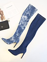 cheap -Women's Shoes Fabric Spring Fall Fashion Boots Boots Over The Knee Boots For Casual Blue Navy Blue