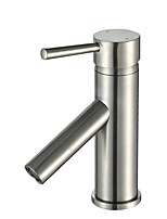 Art Deco / Retro Centerset Widespread Ceramic Valve Single Handle One Hole Nickel Brushed , Bathroom Sink Faucet