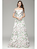 A-Line Bateau Floor Length Organza Formal Evening Dress with Pattern / Print by YIYIAI