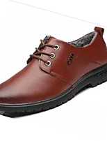 Men's Shoes Cowhide Winter Comfort Oxfords For Casual Brown Black