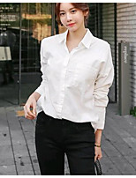 cheap -Women's Daily Cute Shirt,Solid Shirt Collar Long Sleeves Cotton Linen
