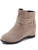 cheap -Women's Shoes PU Winter Comfort Boots Round Toe For Casual Wine Beige Black