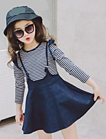 Girls' Striped Clothing Set,Cotton Spring Fall Long Sleeve Cute Blue